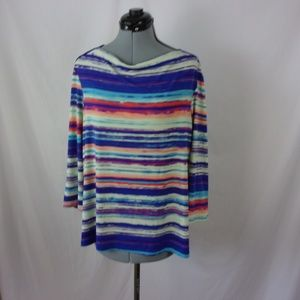 Investment Petites Knit top Striped Colorful PXL